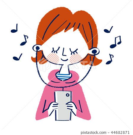 听音乐的女孩 44682871