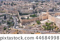 Panoramic view on Jerusalem timelapse with traffic on the road from the Mount of Olives. 44684998