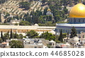 Panorama overlooking the Old city of Jerusalem timelapse, Israel, including the Dome of the Rock 44685028