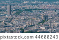 Top view of Paris skyline from observation deck of Montparnasse tower timelapse. Main landmarks of european megapolis. Paris, France 44688243
