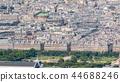 Top view of Paris skyline from observation deck of Montparnasse tower timelapse. Main landmarks of european megapolis. Paris, France 44688246