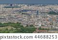 Top view of Paris skyline from observation deck of Montparnasse tower timelapse. Main landmarks of european megapolis. Paris, France 44688253