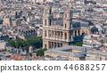 Top view of Paris skyline from observation deck of Montparnasse tower timelapse. Main landmarks of european megapolis. Paris, France 44688257