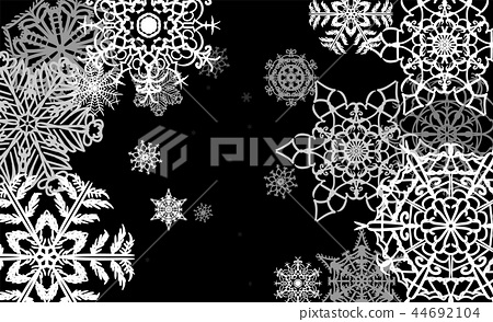 Christmas card with big white snowflakes falling in snowstorm 44692104