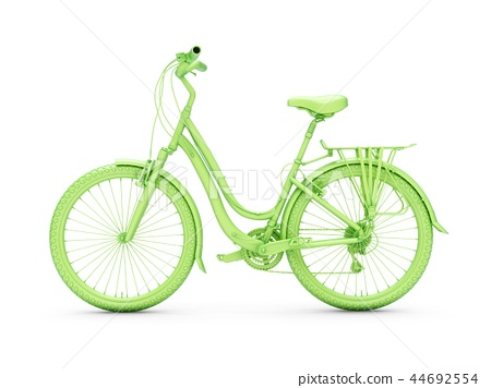 3D Rendering green bicycle isolated on white 44692554