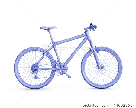 3D Rendering blue bicycle isolated on white 44692556