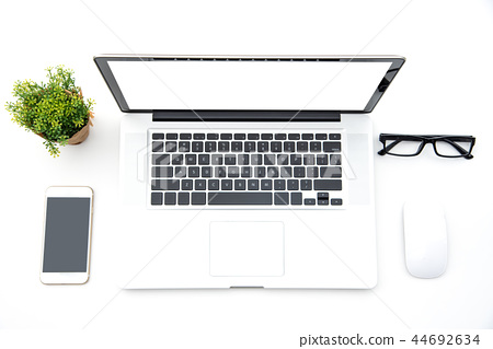 Top view with working desk with laptop,cellphone 44692634