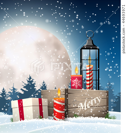 Christmas still-life with gift boxes and lantern 44693971