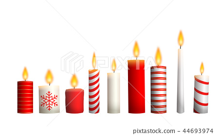 Christmas candles isolated on white background 44693974