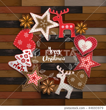 Christmas traditional ornaments on wood 44693979
