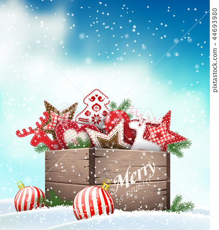 Group of Christmas ornaments in old wooden box 44693980