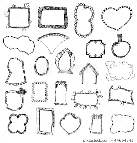 picture frame drawing designs vector set on white 44694543