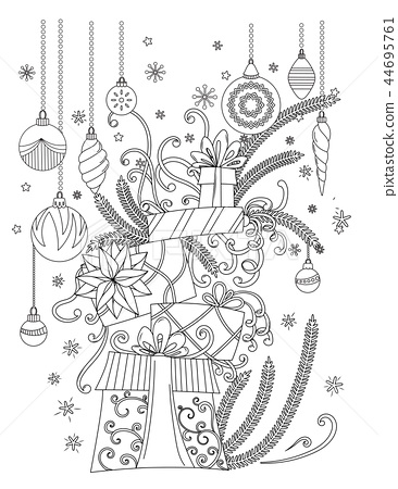 Christmas Coloring Page Stock Illustration 44695761 Pixta