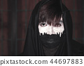 Black and White of Face in Halloween 44697883