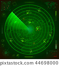 Abstract military radar display with with planes traces and target signs 44698000