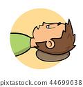 Sick young man lying down. Side view, profile. Fever, temperature. Cartoon design icon. Flat vector 44699638