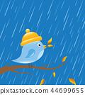 little bird in autumn on a rainy day cartoon 44699655