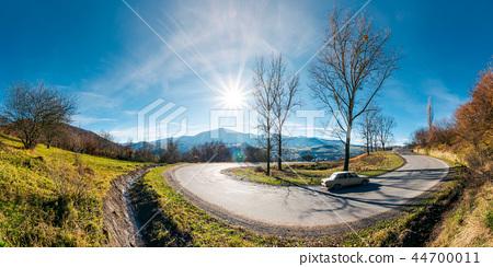 panorama of winding serpentine road in november 44700011