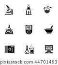 Chemical laboratory glyph style vector icons set 44701493