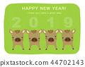 新年贺卡 贺年片 野猪 44702143