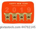 新年贺卡 贺年片 野猪 44702145