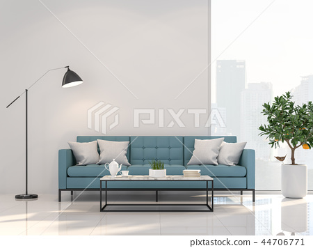 Minimal style living room with city view 3d render 44706771