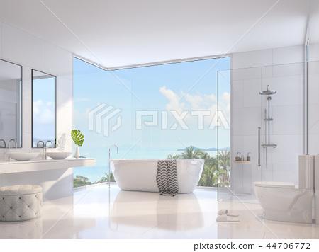 Luxury bathroom with sea view 3d render 44706772