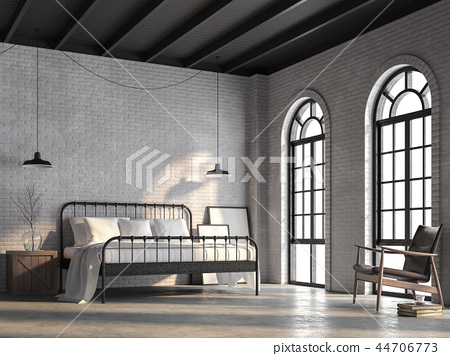 Loft bedroom with white brick wall 3d render 44706773