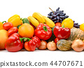 Big pile fruits and vegetables 44707671