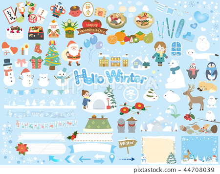 Collection of cute winter illustrations 44708039