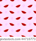 Seamless pattern red lips on purple background 44710773