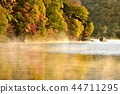 Oko Nikko Chuzenji Lake Senjugahama Autumn leaves forest and misty lake surface bathing in the morning sun 44711295
