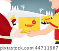 santa claus shipping gift by delivery service man 44711967