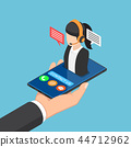 Businessman holding smartphone with call center 44712962