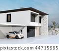 집의 충전소에 충전하는 전기 SUV의 이미지 44715995