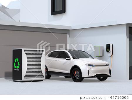 使用电动车重复使用和再利用系统为电动汽车和家庭供电的概念 44716006