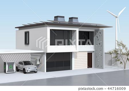 使用電動車重複使用和再利用系統為電動汽車和家庭供電的概念 44716009