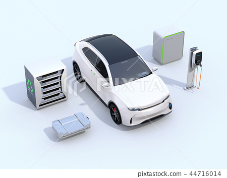 EV 사용한 배터리 재사용 시스템, 자동차 용 전지의 컷 모델, 급속 충전기와 전기 SUV의 이미지 44716014