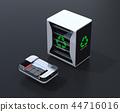 검은 배경에 EV 사용한 배터리 재사용 시스템과 자동차 용 전지 컷 모델의 이미지 44716016