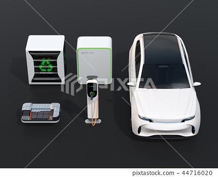 EV 사용한 배터리 재사용 시스템, 자동차 용 전지의 컷 모델, 급속 충전기와 전기 SUV의 이미지 44716020