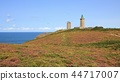Old lighthouse and flowers at Cap Frehel. 44717007