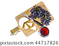 Camembert cheese with black grapes on wooden board 44717826