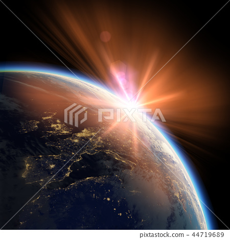Earth view from space or spacestation orbit sunset 44719689