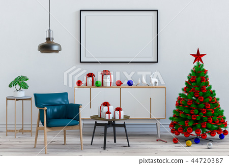 Christmas interior living room. 3d render 44720387