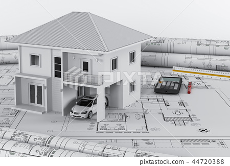 house and drawing tools on blueprint, 3d render 44720388