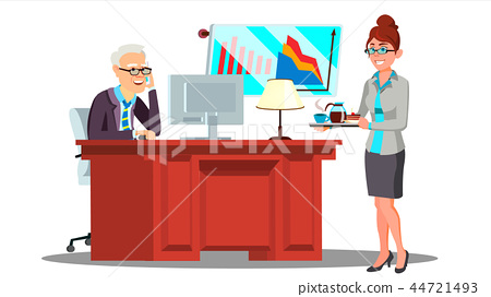 Secretary Girl In Suit Carrying A Cups Of Coffee On A Tray To Boss Vector. Isolated Illustration 44721493