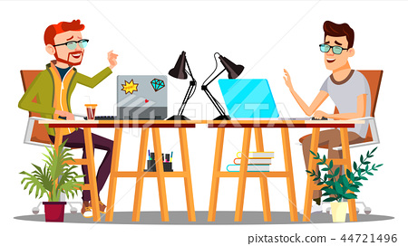 Two Colleagues Sitting At The Table With Computers Laughing At Joke Vector. Isolated Illustration 44721496
