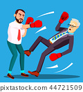 One Businessman Loser Fell To Floor, Second Lucky Businessman The Winner In Boxing Gloves Vector 44721509