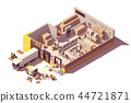 Vector isometric low poly warehouse cross-section 44721871