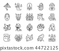 Japanese ghost icon set. 44722125